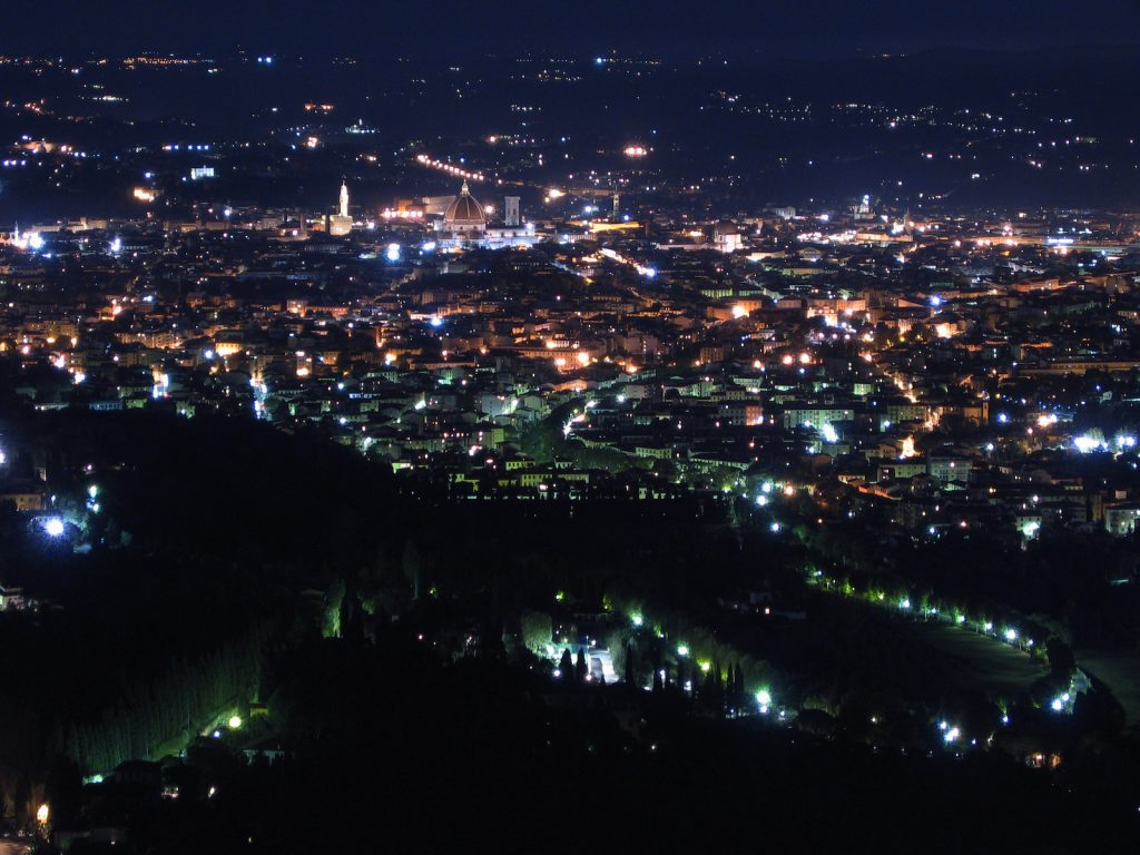 A night view of Florence city centre from San Francesco in Fiesole