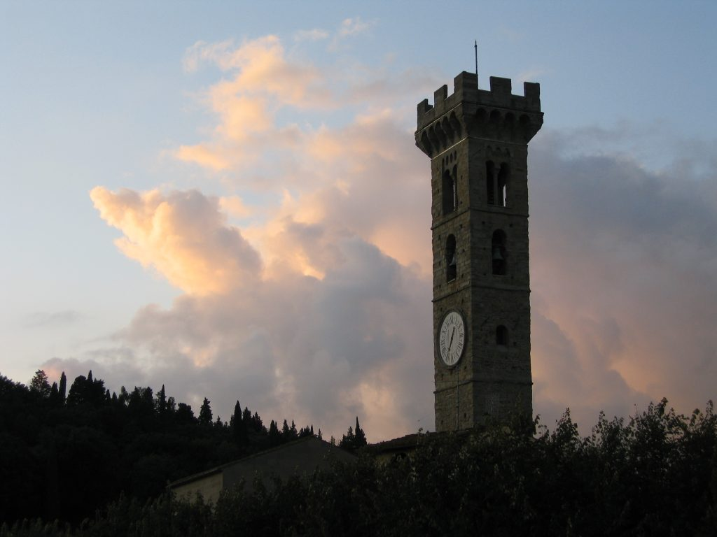 The cathedral's bell tower in Fiesole