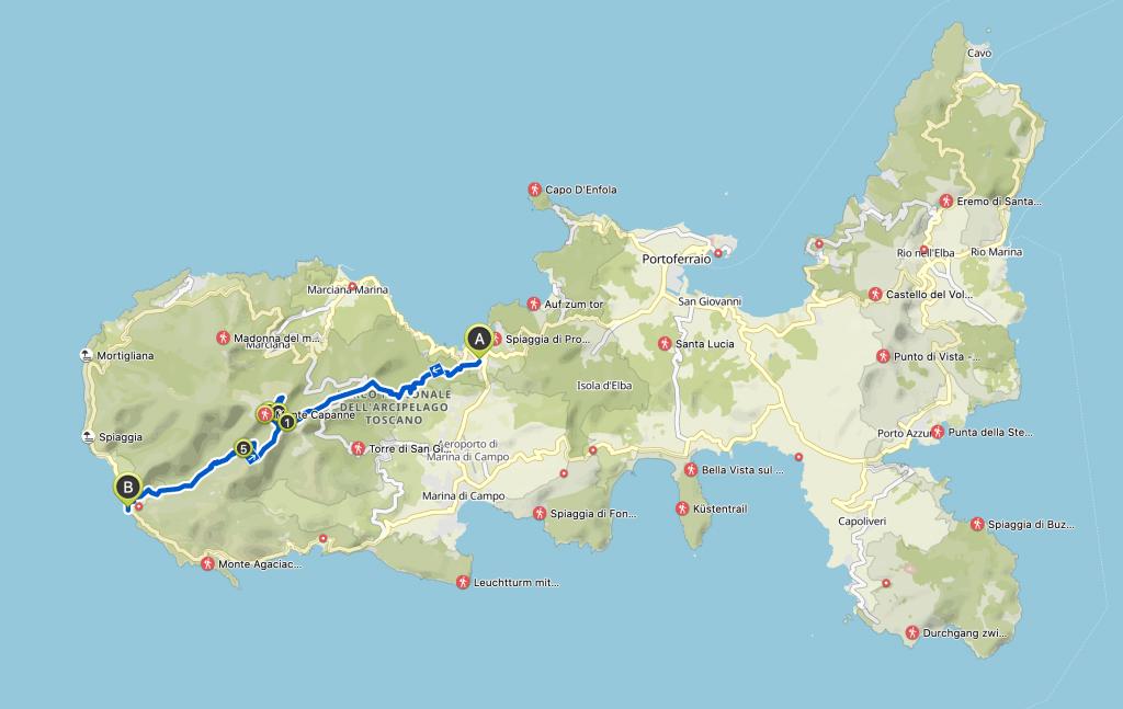 mappa dell'isola d'Elba con evidenziato il percorso del trekking da Procchio a Pomonte passando la notte sul monte Capanne